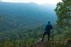 Homme sur la falaise au-dessus des montagnes avec des bois image libre de droits