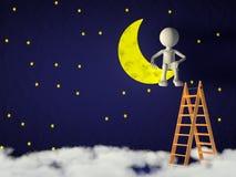 Homme sur la lune Images stock