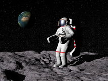 Homme sur la lune - 3D rendent Photos stock
