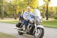 Homme sur la moto Photographie stock