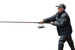 Homme sur la pêche    Photographie stock
