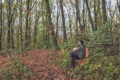 Homme sur le banc dans la forêt Photographie stock