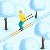 Homme sur Ski Isometric Illustration Image stock