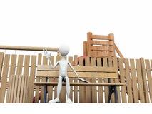 Homme sur un banc dans la cour de jeu Images libres de droits