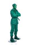 Homme sur un costume vert de soldat de jouet Image libre de droits