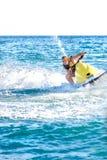 Homme sur un ski d'avion à réaction Image libre de droits