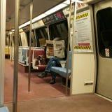 Homme sur un train Images libres de droits