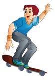 Homme sur une planche à roulettes, illustration Photos stock