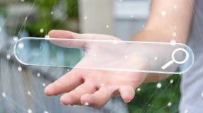 Homme surfant sur l'Internet utilisant le renderi tactile de la barre 3D d'adresse de Web Photographie stock libre de droits