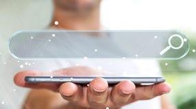 Homme surfant sur l'Internet utilisant le renderi tactile de la barre 3D d'adresse de Web Image stock