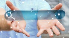 Homme surfant sur l'Internet utilisant le renderi tactile de la barre 3D d'adresse de Web Images libres de droits