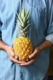 Homme tenant l'ananas mûr Photos stock