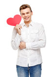 Homme tenant la carte de voeux en forme de coeur Images libres de droits