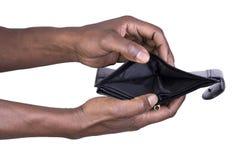 Homme tenant le portefeuille vide Image stock
