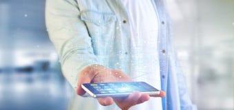 Homme tenant le rendu binaire du nuage 3d de données Photo libre de droits