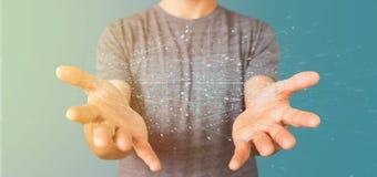 Homme tenant le rendu binaire du nuage 3d de données Photos stock