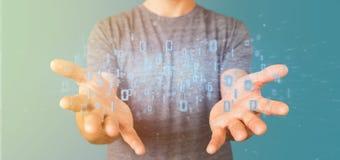 Homme tenant le rendu binaire du nuage 3d de données Photo stock