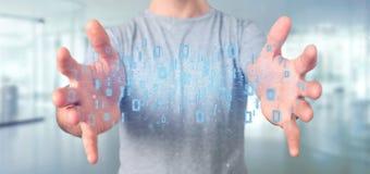 Homme tenant le rendu binaire du nuage 3d de données Images libres de droits