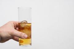 Homme tenant le verre de la boisson alcoolisée photographie stock