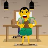 Homme tenant ou montrant des factures d'argent illustration de vecteur