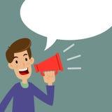 Homme tenant un haut-parleur bruyant Images stock