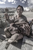 Homme tibétain - monastère de Yambulagang - le Thibet Photos libres de droits