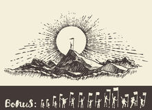 Homme tiré sur le concept supérieur de gagnant de lever de soleil de montagne illustration de vecteur
