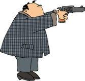 Homme tirant un pistolet illustration de vecteur