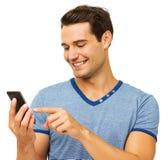 Homme touchant le téléphone intelligent Images libres de droits