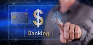 Homme touchant un concept de sécurité d'opérations bancaires Photos stock