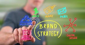 Homme touchant un concept de stratégie de marque Images libres de droits