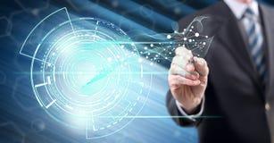 Homme touchant un concept de technologie illustration stock