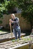 Homme travaillant au potager dans l'arrière-cour images stock