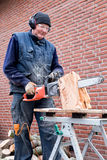 Homme travaillant avec la tronçonneuse sur le tronc images stock