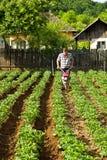Homme travaillant le sol avec la petite machine Photos libres de droits