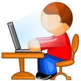 Homme travaillant sur l'ordinateur. Graphisme de Web. Photo libre de droits