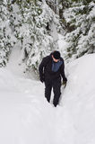 Homme trimardant en montagnes neigeuses images stock