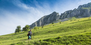 Homme trimardant en montagnes vertes Image stock