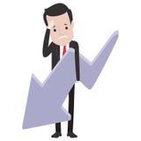 Homme triste d'affaires tenant une flèche descendant illustration de vecteur