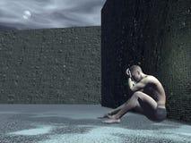 Homme triste - 3D rendent illustration libre de droits