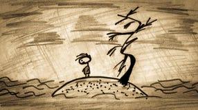 Homme triste sur l'île abandonnée Image stock