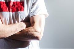 Homme, type, athlète, athlète, bodybuilder dans le T-shirt blanc vide W Images libres de droits