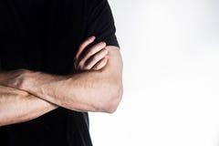 Homme, type, athlète, sportif, bodybuilder dans le T-shirt noir avec Images stock