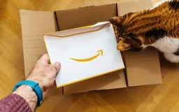 Homme unboxing Amazone carton de COM contenant une enveloppe de surprise Image stock