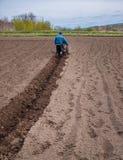 Homme utilisant un cultivateur dans un domaine à une ferme, avant de planter des pommes de terre photo stock