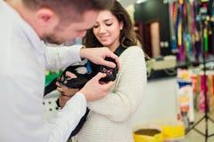 Homme vétérinaire vérifiant le petit chiot photos stock