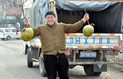 Homme vendant des noix de coco sur l'omnibus Images libres de droits