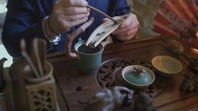 Homme versant le thé vert dans la théière à la cérémonie de thé de chinois traditionnel clips vidéos