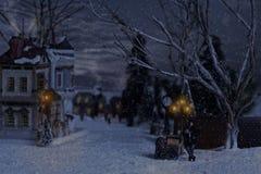Homme victorien vendant des châtaignes dans le village à Noël images stock