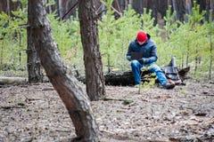 Homme voyageant dans une forêt de pin image libre de droits